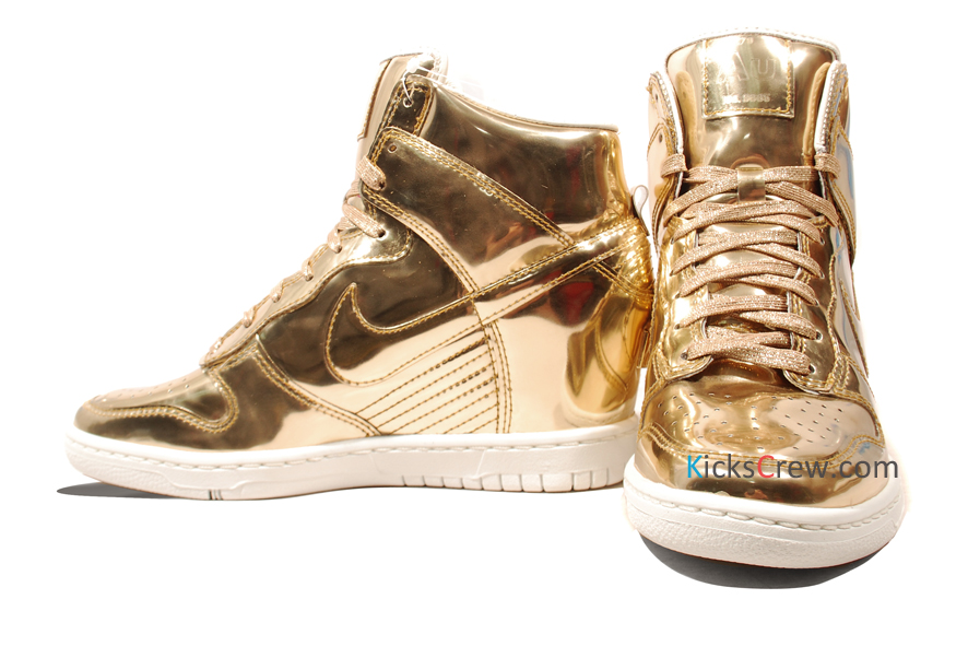 low priced 91a56 38f69 gold nike high dunk