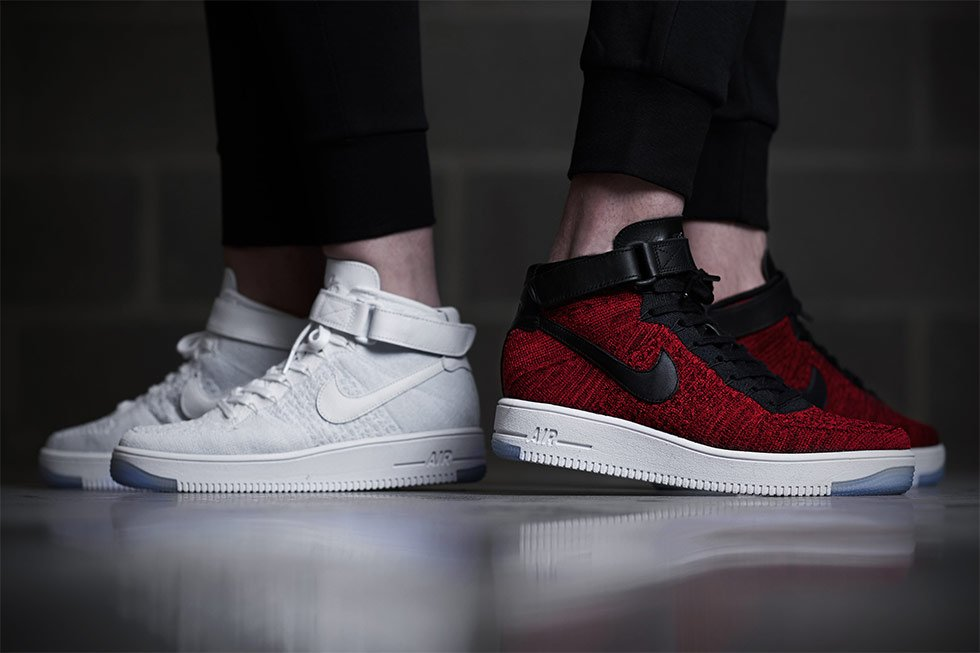 Nike Air Force 1 Flyknit Bas Mousses Rouges Universitaires