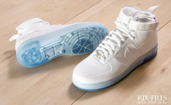 air force one nike mid foamposite white out for sale