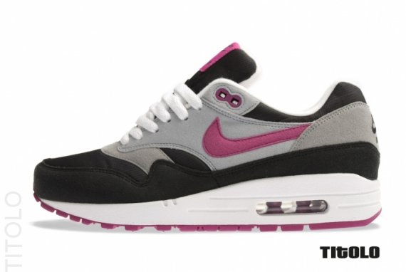 Womens Nike Air Max 1. Color:Black/Rave Pink-Wolf Grey-
