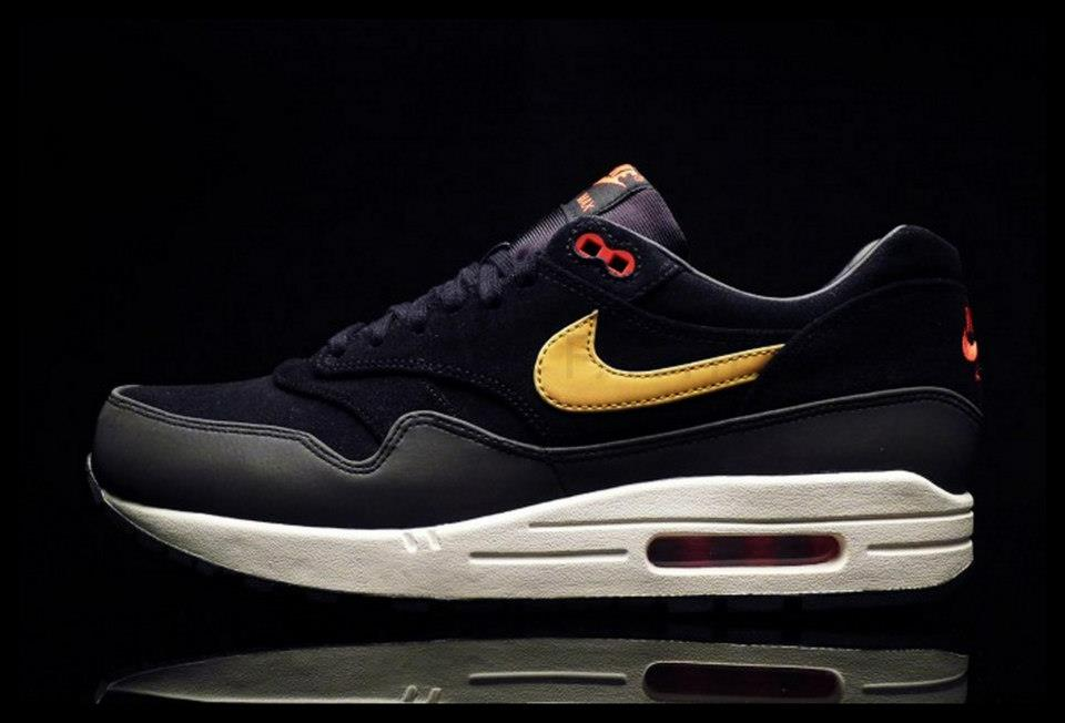 detailed look 8d70d a391b Nike Air Max 1 Premium – Black Metallic Gold-Hyper Red-Sail