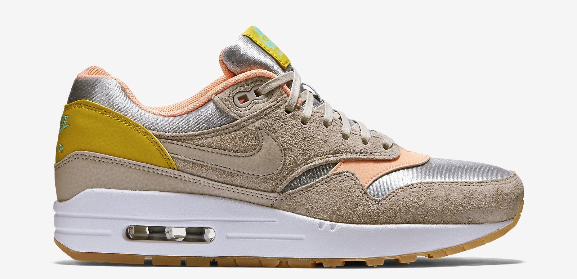premium selection fbd16 6af93 Nike Womens Air Max 1 Premium Color  Metallic Silver Sunset Glow-Green Glow- String Style  454746-006. Price   120.00