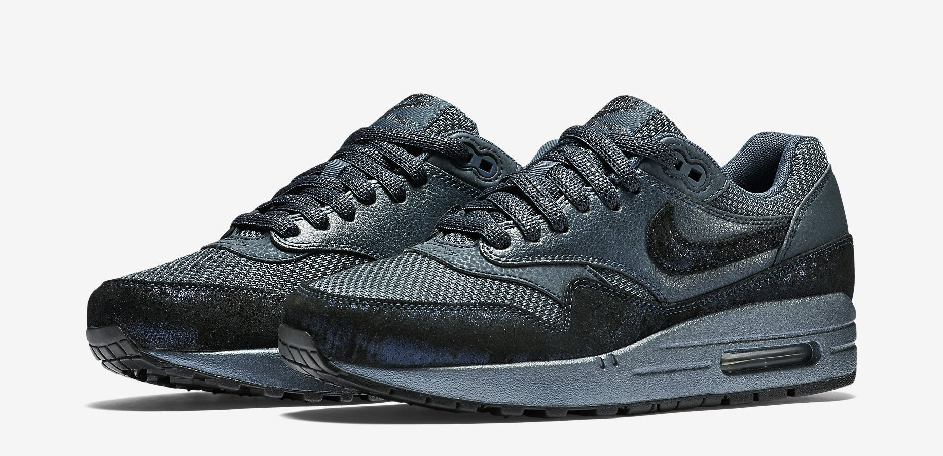 Nike Womens Air Max 1 Premium Color: Squadron Blue/Squadron Blue-Metallic  Armory Navy Style: 454746-401. Price: $120.00
