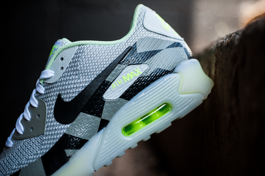 Fashion Nike Air Max 90 Knit Jacquard Ice QS White Black Grey Mist Green 744553 100 Men's Running Shoes Trainers