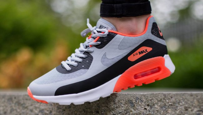 best value 2a692 e6d35 Nike Womens Air Max 90 Ultra BR Color  Wolf Grey Black-Hyper Orange-White  Style  725061-001