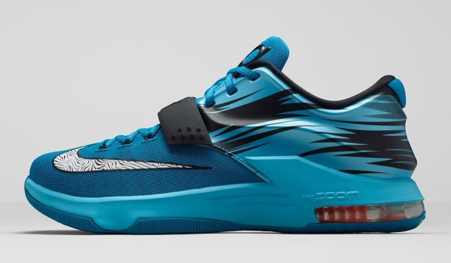 best website ee88f 2c00f Nike KD 7 (VII) Color  Light Blue Lacquer Clearwater Total Orange White  Style  653996-414. Release  01 15 2015. Price   150.00