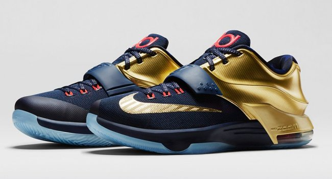best website 830e9 a16b3 The Midnight Navy Metallic Gold-Bright Crimson Nike KD 7 Premium drops this  Saturday, November 22. Retail price has been set at  170, with sizes 8-14  ...