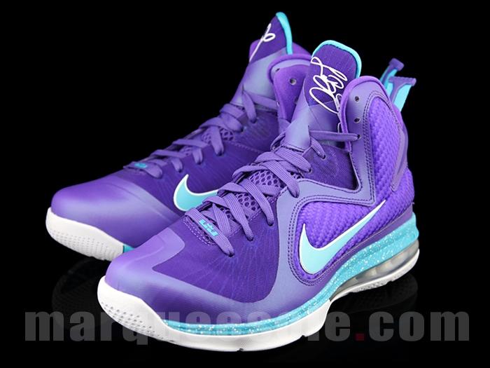 huge discount e1a65 3d5bb Nike Lebron 9 IX Size 13.5 Summit Lake Hornets 469764 500 Purple Blue  PreOwned
