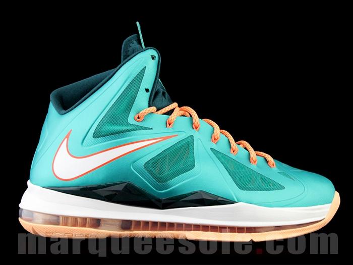 32db25d1e2ef Style  541100-302. Price   220.00  Nike Lebron X 10 Miami Dolphins Teal Green  Orange White ...