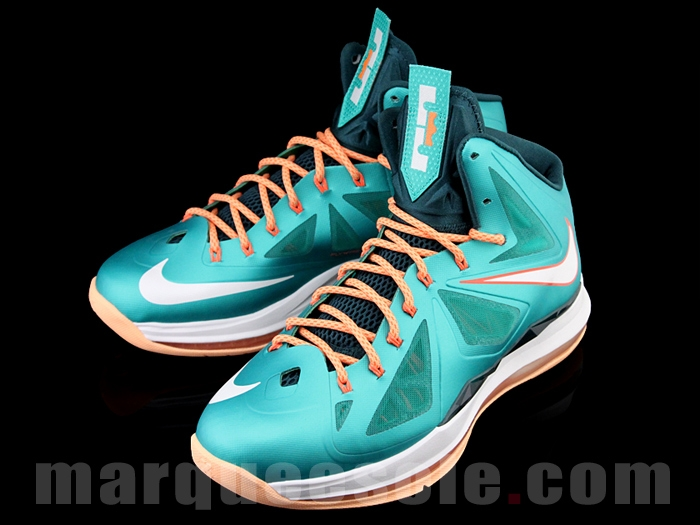 a03c495da953 Nike Lebron X 10 Miami Dolphins Teal Green Orange White 541100-302 Men s 11