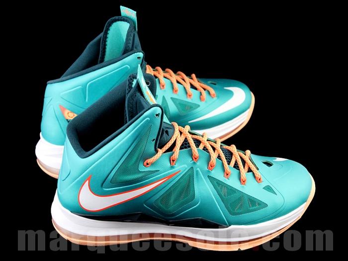 cf92aca819de Nike Lebron X 10 Miami Dolphins Teal Green Orange White 541100-302 Men s 11