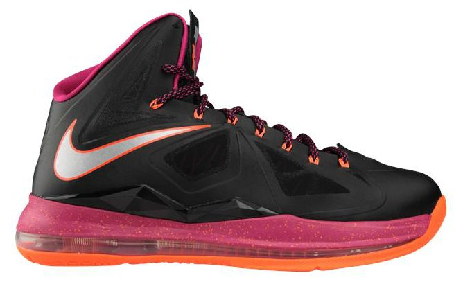 Nike LeBron X (10) Color: Black/Metallic Silver-Total Orange-Fireberry  Style: 541100-005. Release: 11/21/2012. Price: $180.00