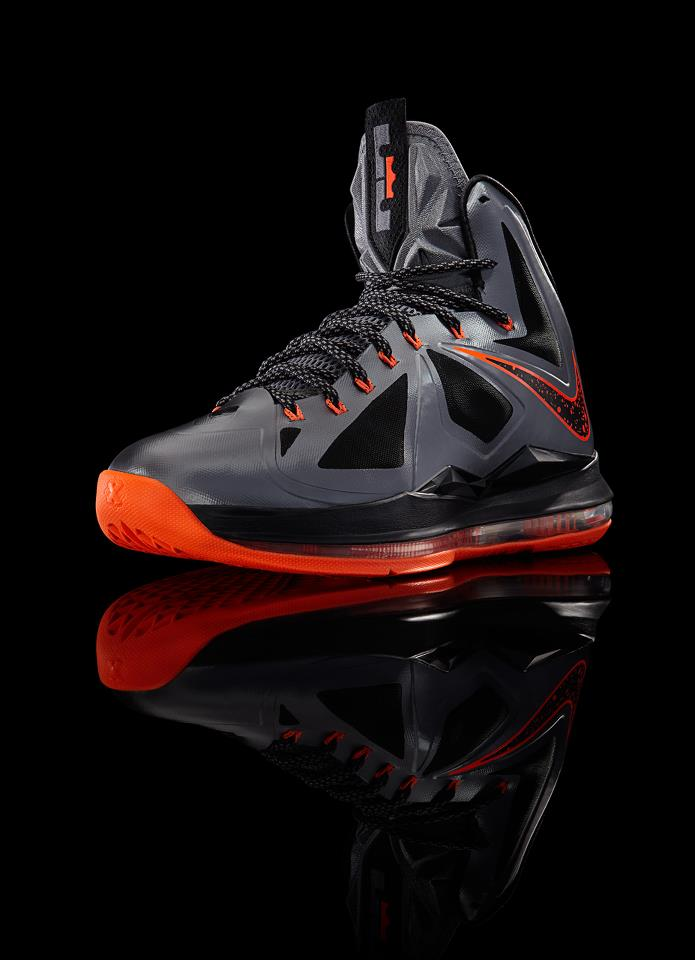3221ed2233539 Nike LeBron X (10) Color  Charcoal Total Orange-Black Style  541100-002.  Release  12 08 12. Price   180.00
