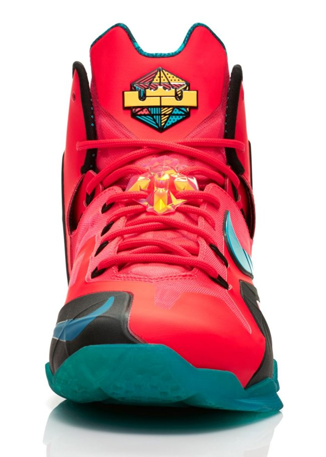 new arrival 27ba6 812c5 Nike Lebron XI Elite 11 Laser Crimson Super Hero Green 642846-600 Sz 12