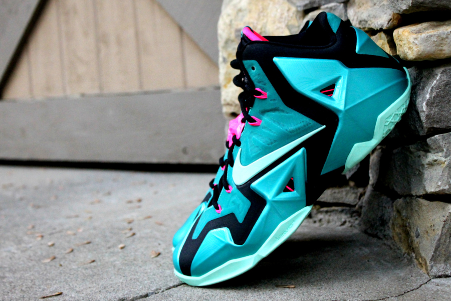 watch 1b87e d7a9f ... while hot pink eyelets and a matching lacelock complete the theme. The South  Beach Nike LeBron 11 will hit stores on June 21, retailing for  200.