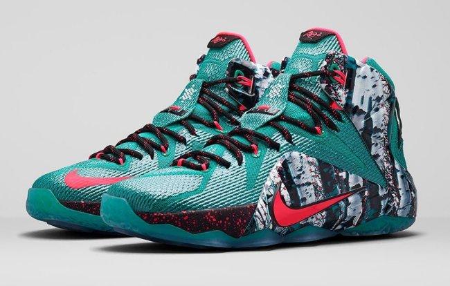 1754c31df5dd Nike Lebron XII 12 Xmas Emerald Green Hyper Punch Akron Birch 707558-363 SZ  9.5