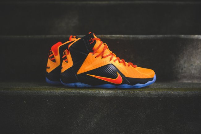 newest f8199 2a5ce Nike LeBron 12. Color  Laser Orange Green Glow-Black Style  684593-830.  Release  06 13 2015. Price   200.00