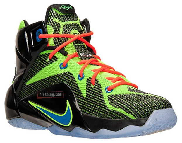8e45bd2809f36 Nike LeBron 12 GS – Black   Electric Green-Hyper Cobalt-Bright Crimson