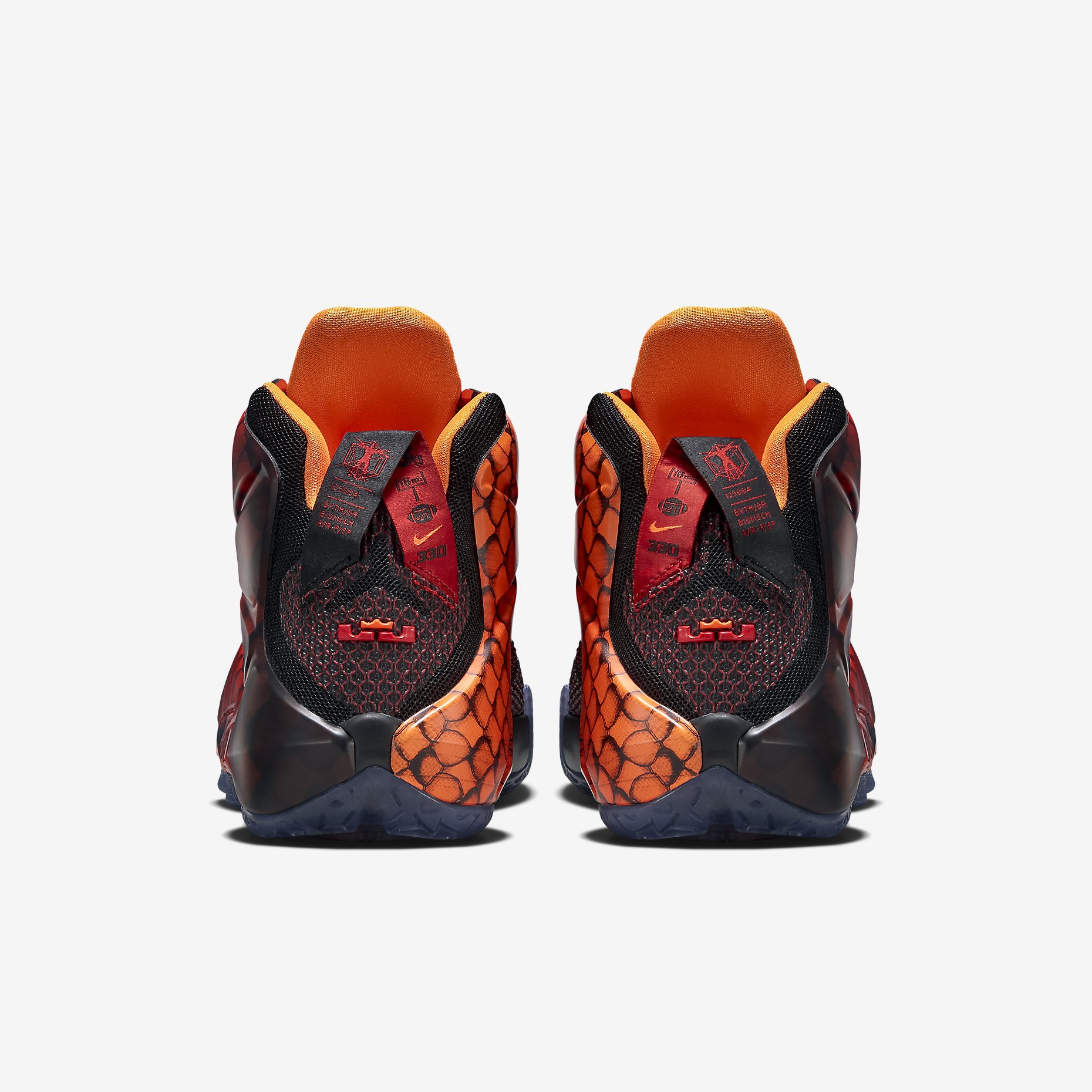 Nike lebron 12 xii young dragons black orange red 685181 010 7y youth