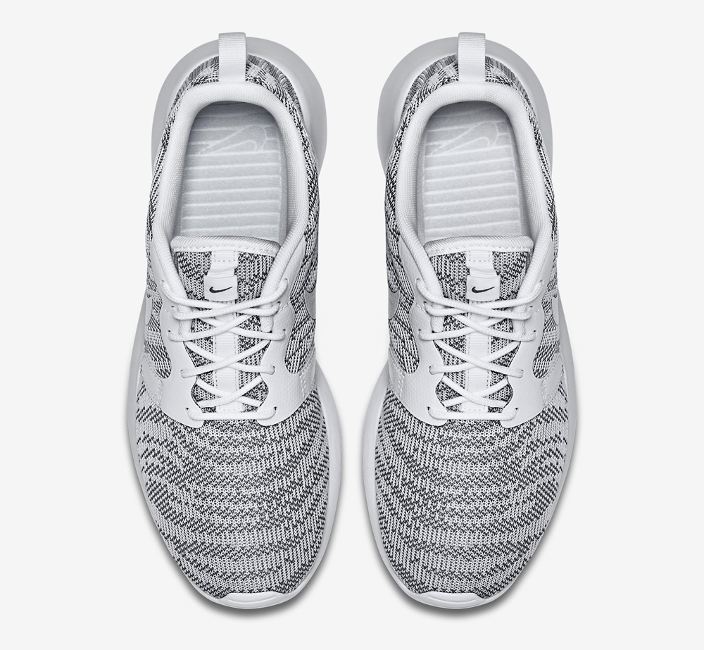 newest collection 444df dd75b nike womens roshe run knit jacquard cool grey white