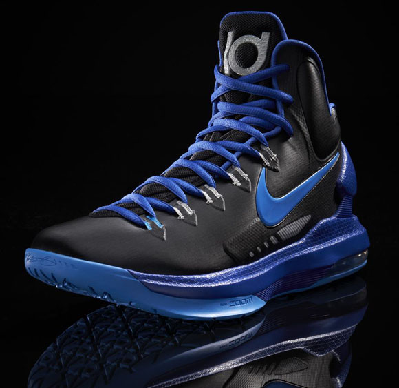 sale retailer 2fa77 e35b7 ... so far, this pair uses a primarily black upper, with bright blue as a  second color. The Black Blue Glow Nike KD V will drop this Saturday,  January 5, ...