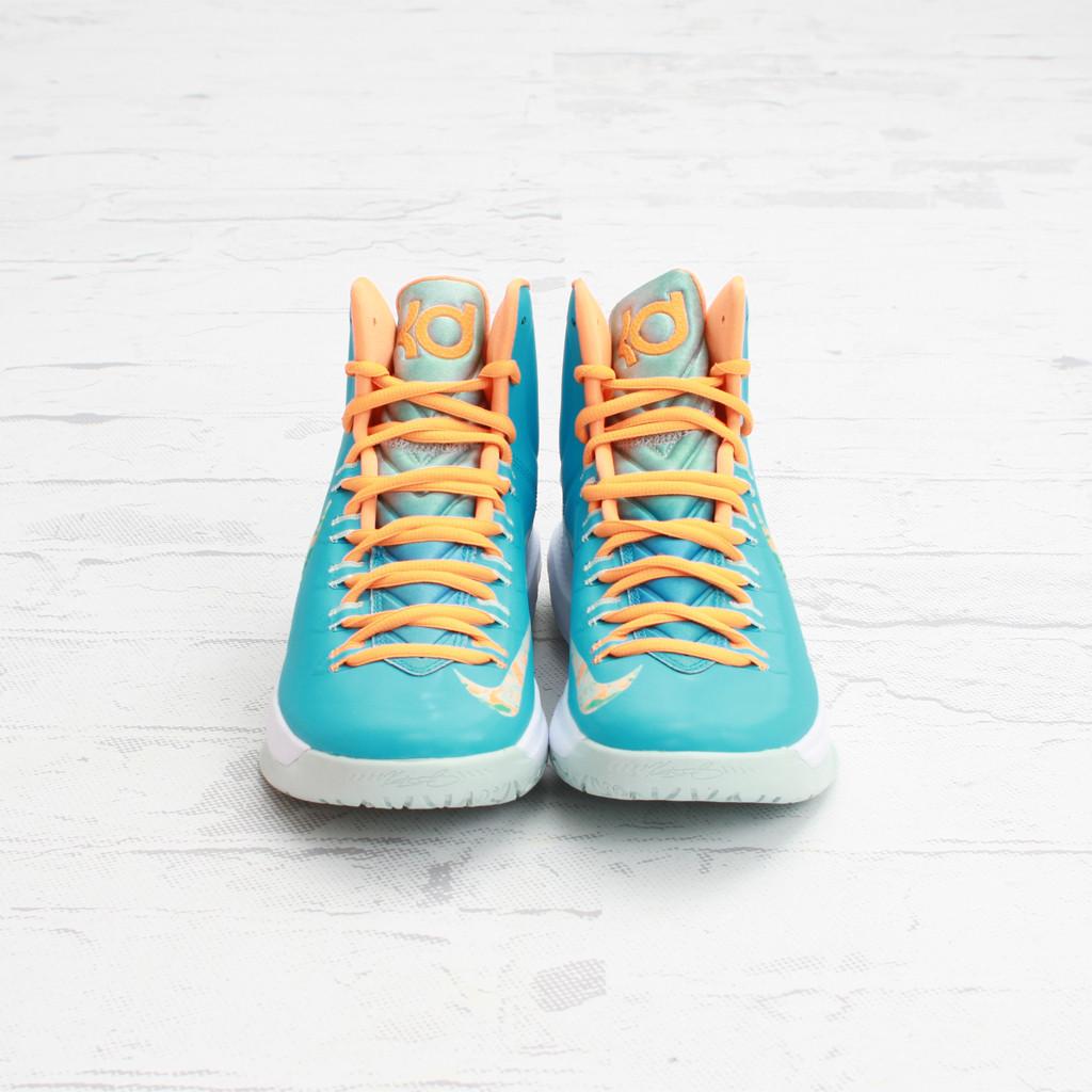 e42cc42e91a4 Nike KEVIN DURANT KD V 5 EASTER TURQUOISE BLUE WHITE ORANGE Size 18   554988-402