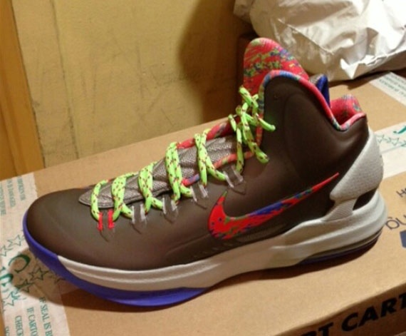 first rate a6deb 92dac Nike KD V (5) Color  Sport Grey Violet Force-Strata Grey-Bright Crimson-Electric  Green Style  554988-007. Release  12 31 2012. Price   115.00