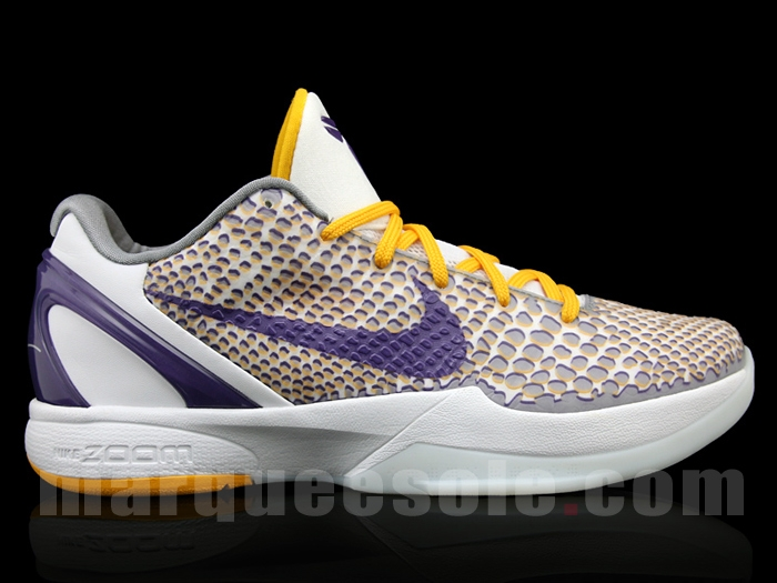 hot sale online d626d e78d6 Nike Zoom Kobe VI (6) Color WhitePurple-Yellow-Grey (Lakers 3D) Release  FallHoliday 2011. Price 130.00
