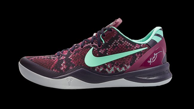ce5f5f9a2085 Nike Kobe VIII (8) System Color  Purple Dynsty Green Glow-Raspberry Red  Style  555035-502. Release  10 5 2013. Price   140.00
